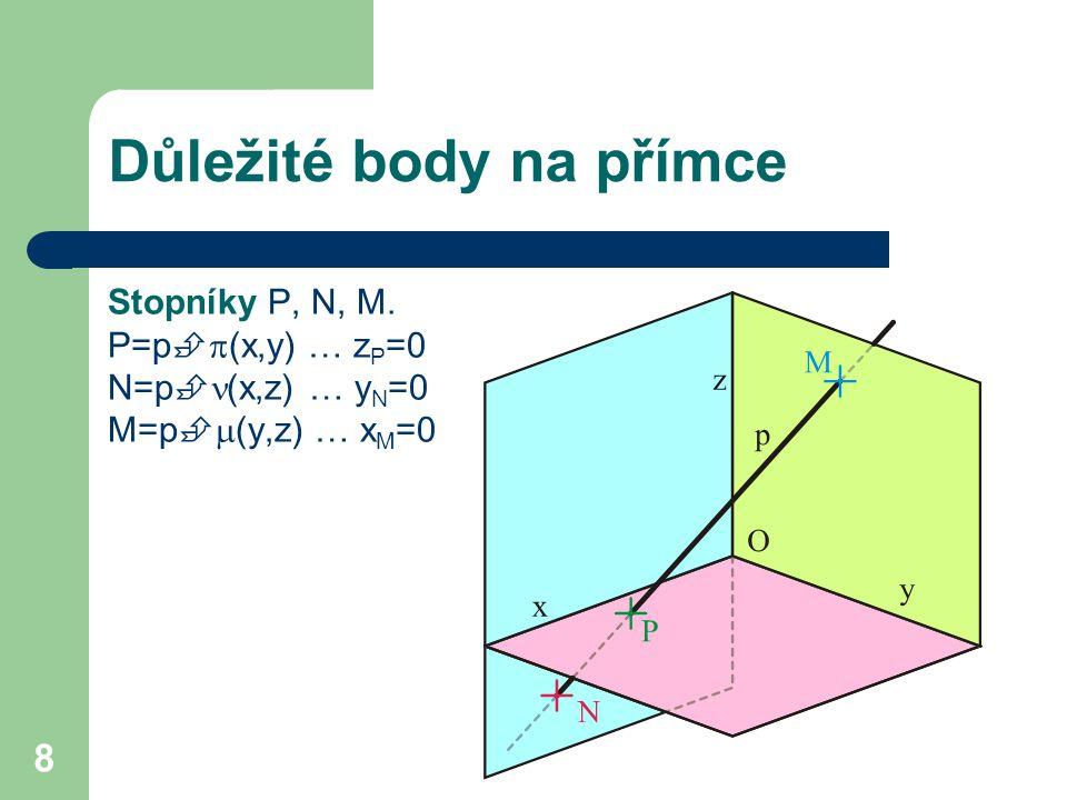 8 Důležité body na přímce Stopníky P, N, M.