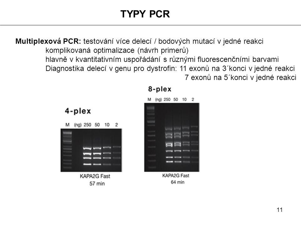 11 TYPY PCR Multiplexová PCR: testování více delecí / bodových mutací v jedné reakci komplikovaná optimalizace (návrh primerů) hlavně v kvantitativním