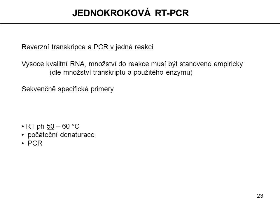 23 JEDNOKROKOVÁ RT-PCR Reverzní transkripce a PCR v jedné reakci Vysoce kvalitní RNA, množství do reakce musí být stanoveno empiricky (dle množství tr