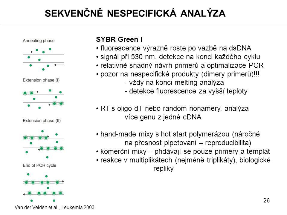26 SEKVENČNĚ NESPECIFICKÁ ANALÝZA Van der Velden et al., Leukemia 2003 SYBR Green I fluorescence výrazně roste po vazbě na dsDNA signál při 530 nm, de