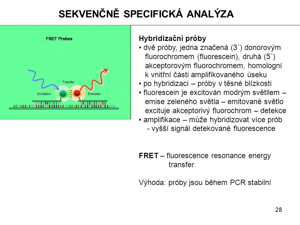 28 SEKVENČNĚ SPECIFICKÁ ANALÝZA Hybridizační próby dvě próby, jedna značená (3´) donorovým fluorochromem (fluorescein), druhá (5´) akceptorovým fluoro