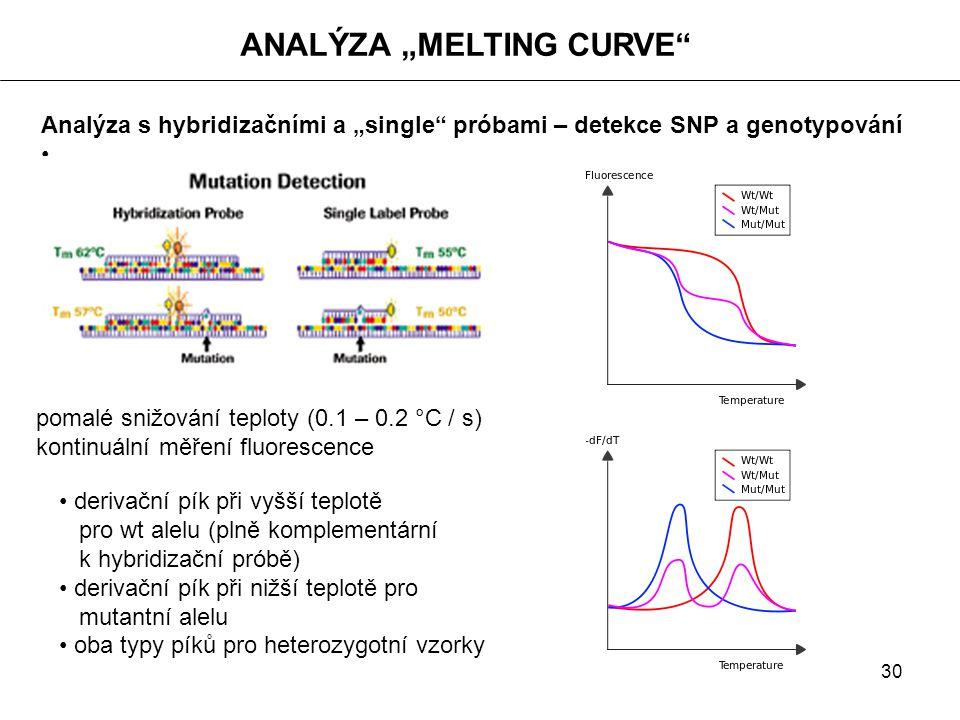 """30 ANALÝZA """"MELTING CURVE"""" Analýza s hybridizačními a """"single"""" próbami – detekce SNP a genotypování derivační pík při vyšší teplotě pro wt alelu (plně"""