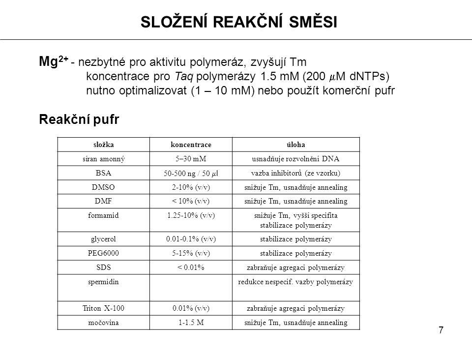 7 Mg 2+ - nezbytné pro aktivitu polymeráz, zvyšují Tm koncentrace pro Taq polymerázy 1.5 mM (200  M dNTPs) nutno optimalizovat (1 – 10 mM) nebo použí