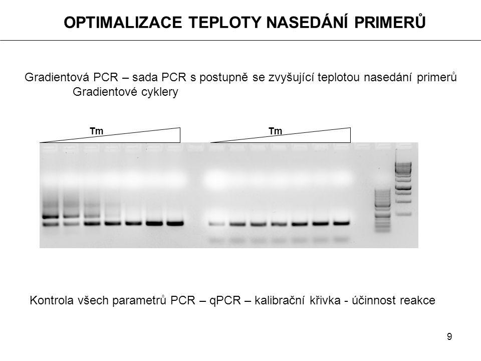 9 OPTIMALIZACE TEPLOTY NASEDÁNÍ PRIMERŮ Gradientová PCR – sada PCR s postupně se zvyšující teplotou nasedání primerů Gradientové cyklery Kontrola všec