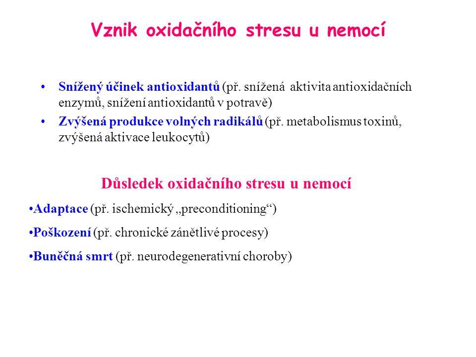 Vznik oxidačního stresu u nemocí Snížený účinek antioxidantů (př. snížená aktivita antioxidačních enzymů, snížení antioxidantů v potravě) Zvýšená prod