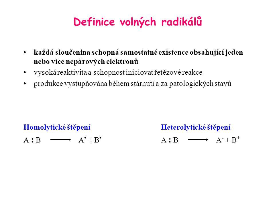 Definice volných radikálů každá sloučenina schopná samostatné existence obsahující jeden nebo více nepárových elektronů vysoká reaktivita a schopnost