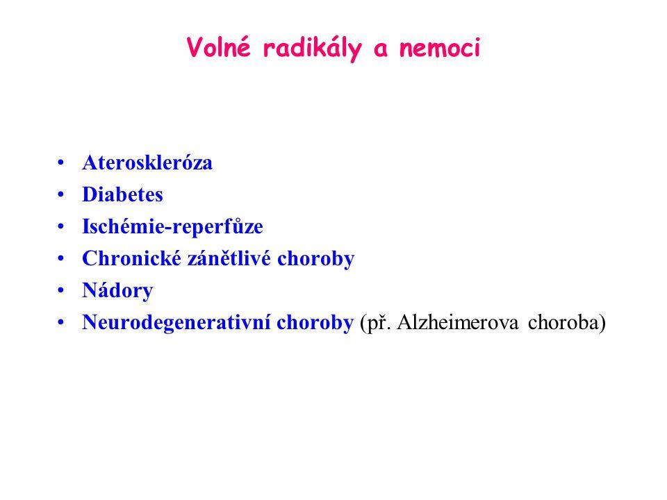 Volné radikály a nemoci Ateroskleróza Diabetes Ischémie-reperfůze Chronické zánětlivé choroby Nádory Neurodegenerativní choroby (př. Alzheimerova chor