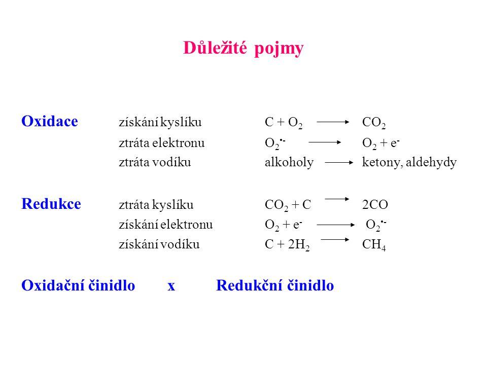 Důležité pojmy Oxidace získání kyslíkuC + O 2 CO 2 ztráta elektronuO 2- O 2 + e - ztráta vodíkualkoholyketony, aldehydy Redukce ztráta kyslíkuCO 2 + C