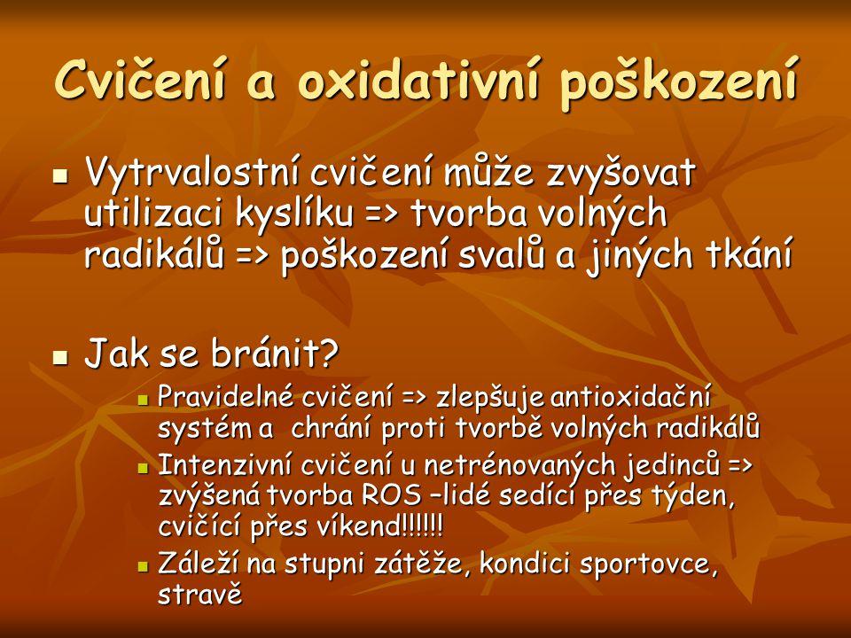 Cvičení a oxidativní poškození Vytrvalostní cvičení může zvyšovat utilizaci kyslíku => tvorba volných radikálů => poškození svalů a jiných tkání Vytrv