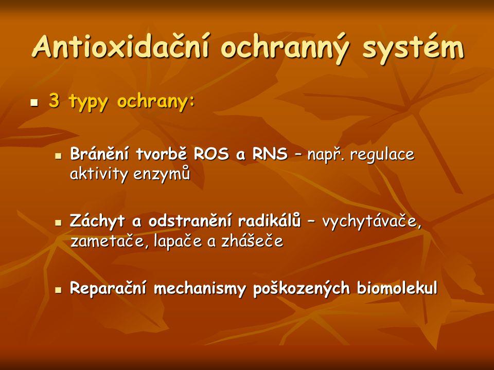 Antioxidační ochranný systém 3 typy ochrany: 3 typy ochrany: Bránění tvorbě ROS a RNS – např. regulace aktivity enzymů Bránění tvorbě ROS a RNS – např