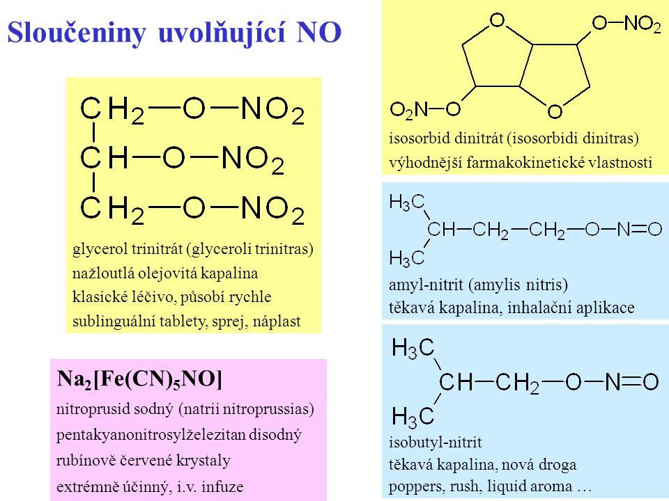 14 Sloučeniny uvolňující NO Na 2 [Fe(CN) 5 NO] nitroprusid sodný (natrii nitroprussias) pentakyanonitrosylželezitan disodný rubínově červené krystaly