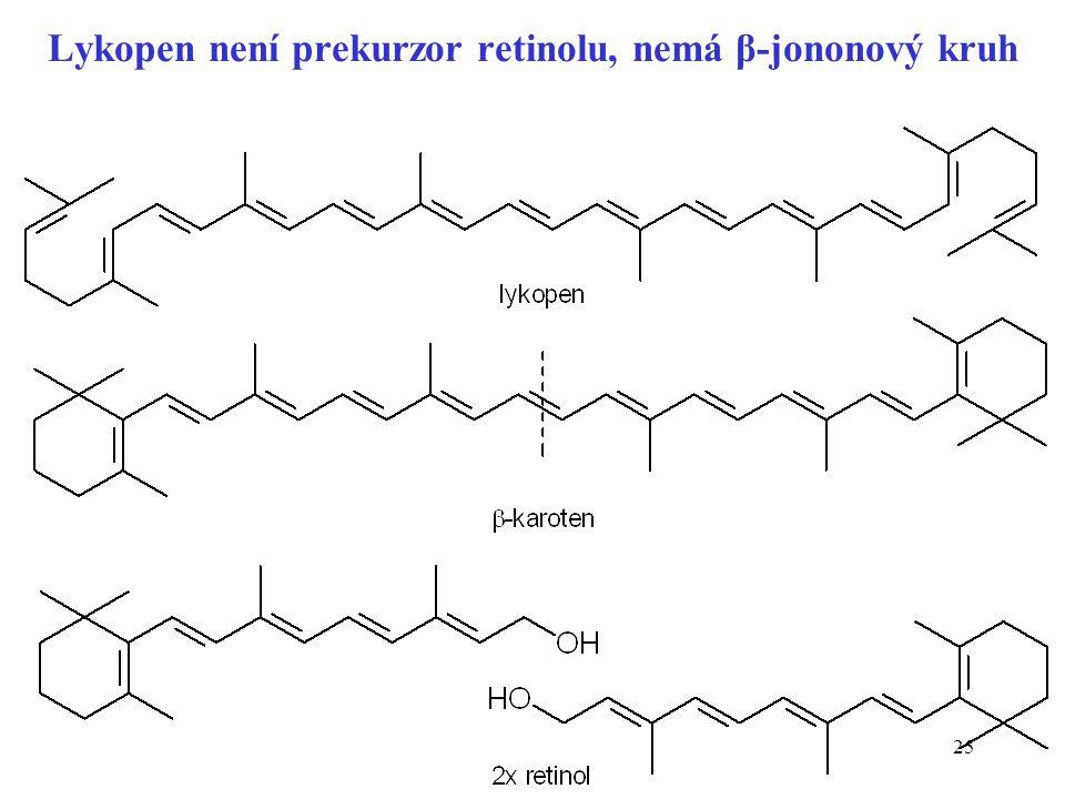 25 Lykopen není prekurzor retinolu, nemá β-jononový kruh