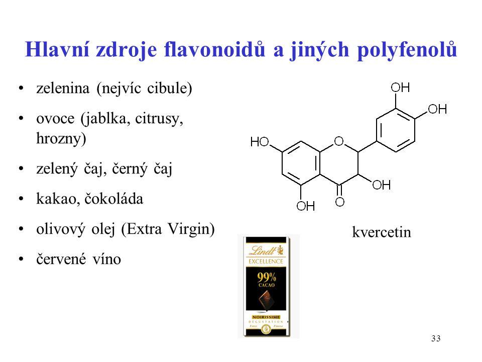 33 Hlavní zdroje flavonoidů a jiných polyfenolů zelenina (nejvíc cibule) ovoce (jablka, citrusy, hrozny) zelený čaj, černý čaj kakao, čokoláda olivový