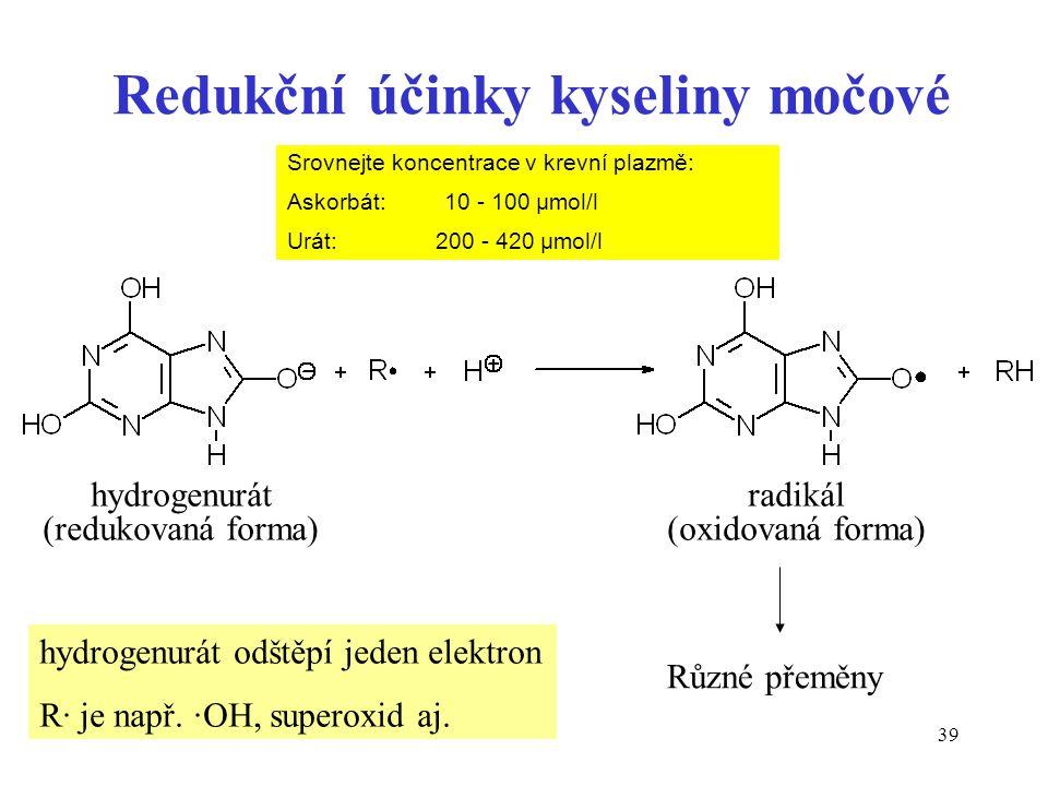 39 Redukční účinky kyseliny močové Různé přeměny radikál (oxidovaná forma) hydrogenurát odštěpí jeden elektron R· je např. ·OH, superoxid aj. hydrogen