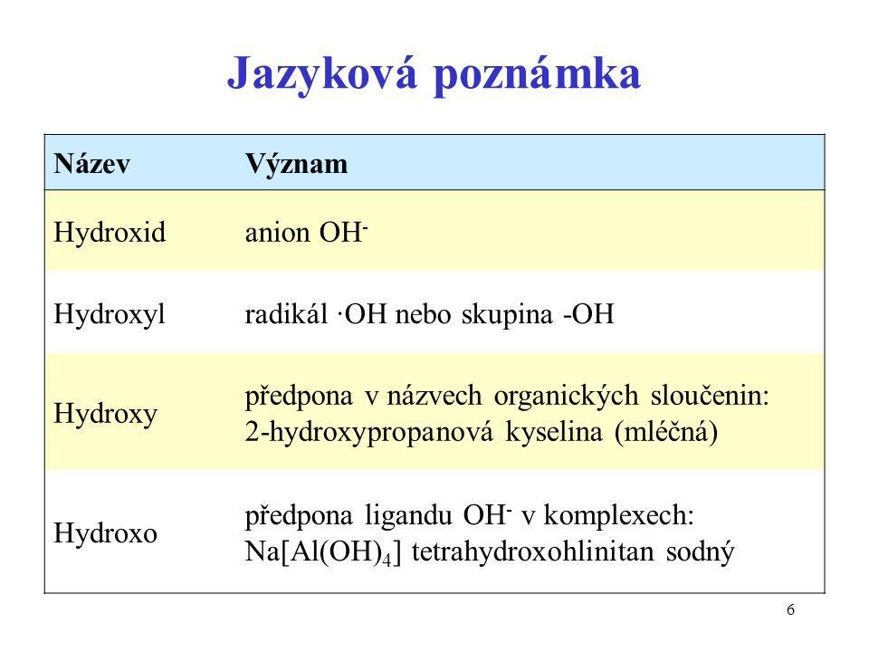 6 Jazyková poznámka NázevVýznam Hydroxidanion OH - Hydroxylradikál ·OH nebo skupina -OH Hydroxy předpona v názvech organických sloučenin: 2-hydroxypro