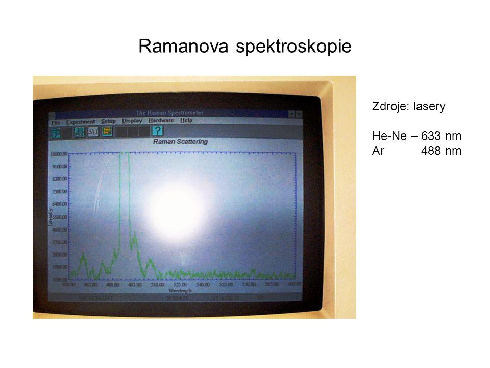 Ramanova spektroskopie Zdroje: lasery He-Ne – 633 nm Ar488 nm