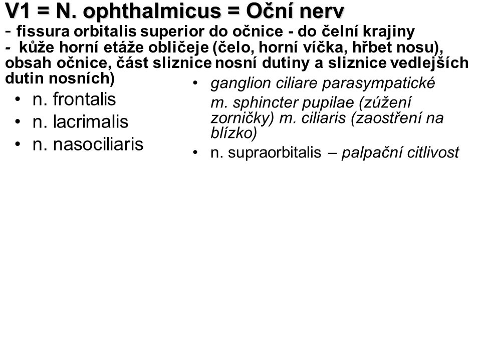 V1 = N. ophthalmicus = Oční nerv - fissura orbitalis superior do očnice - do čelní krajiny - kůže horní etáže obličeje (čelo, horní víčka, hřbet nosu)