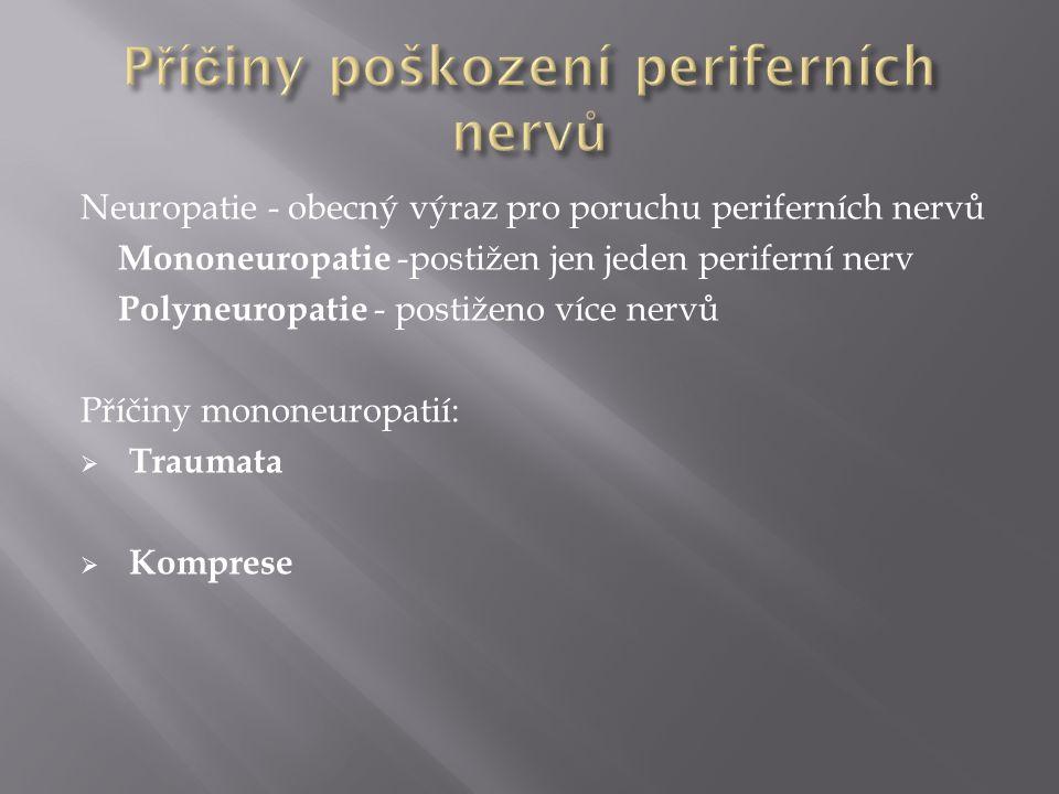 Neuropatie - obecný výraz pro poruchu periferních nervů Mononeuropatie -postižen jen jeden periferní nerv Polyneuropatie - postiženo více nervů Příčin