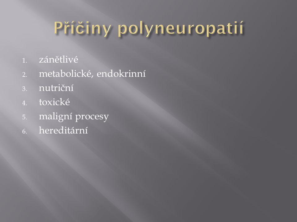 1. zánětlivé 2. metabolické, endokrinní 3. nutriční 4. toxické 5. maligní procesy 6. hereditární