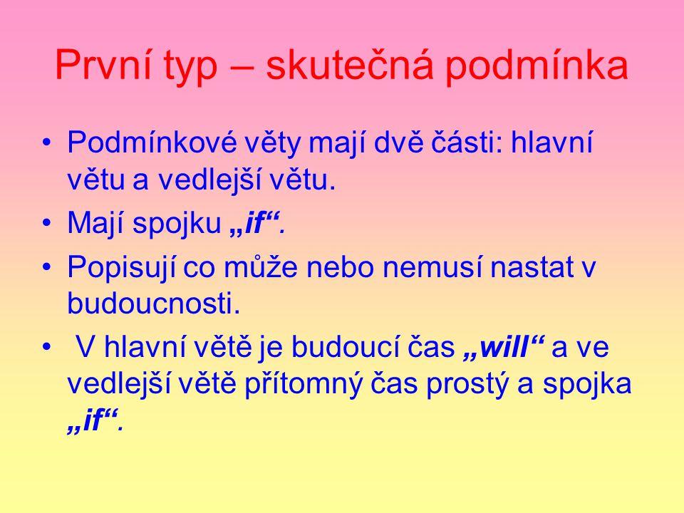První typ – skutečná podmínka Podmínkové věty mají dvě části: hlavní větu a vedlejší větu.