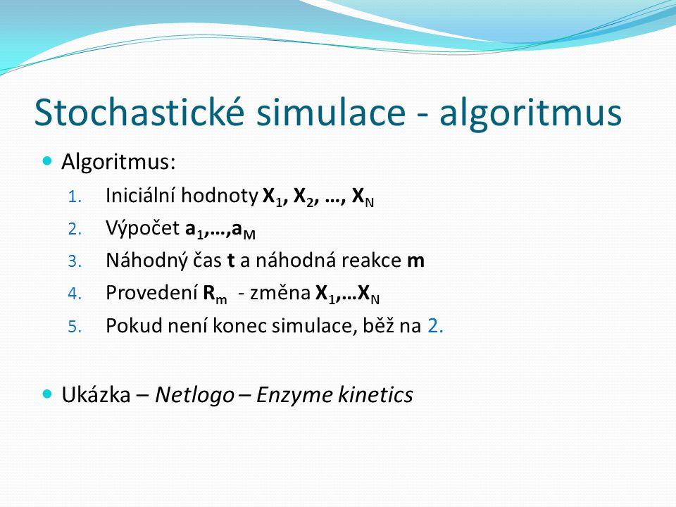 Stochastické simulace - algoritmus Algoritmus: 1. Iniciální hodnoty X 1, X 2, …, X N 2. Výpočet a 1,…,a M 3. Náhodný čas t a náhodná reakce m 4. Prove