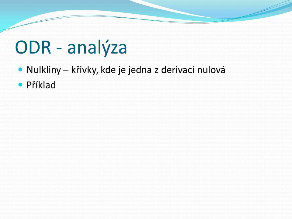 ODR - analýza Nulkliny – křivky, kde je jedna z derivací nulová Příklad
