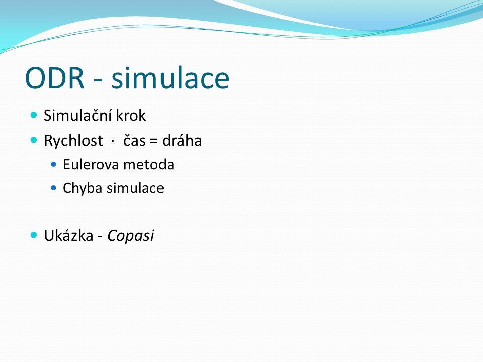 ODR - simulace Simulační krok Rychlost ∙ čas = dráha Eulerova metoda Chyba simulace Ukázka - Copasi