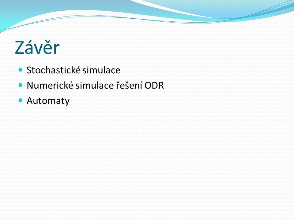 Závěr Stochastické simulace Numerické simulace řešení ODR Automaty