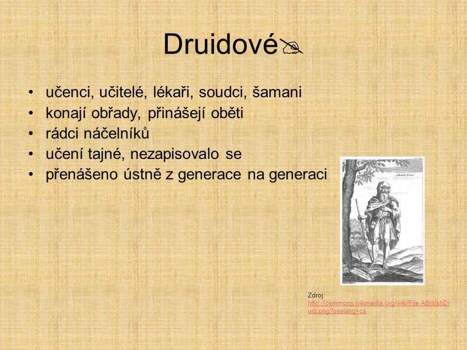 Druidové  učenci, učitelé, lékaři, soudci, šamani konají obřady, přinášejí oběti rádci náčelníků učení tajné, nezapisovalo se přenášeno ústně z gener