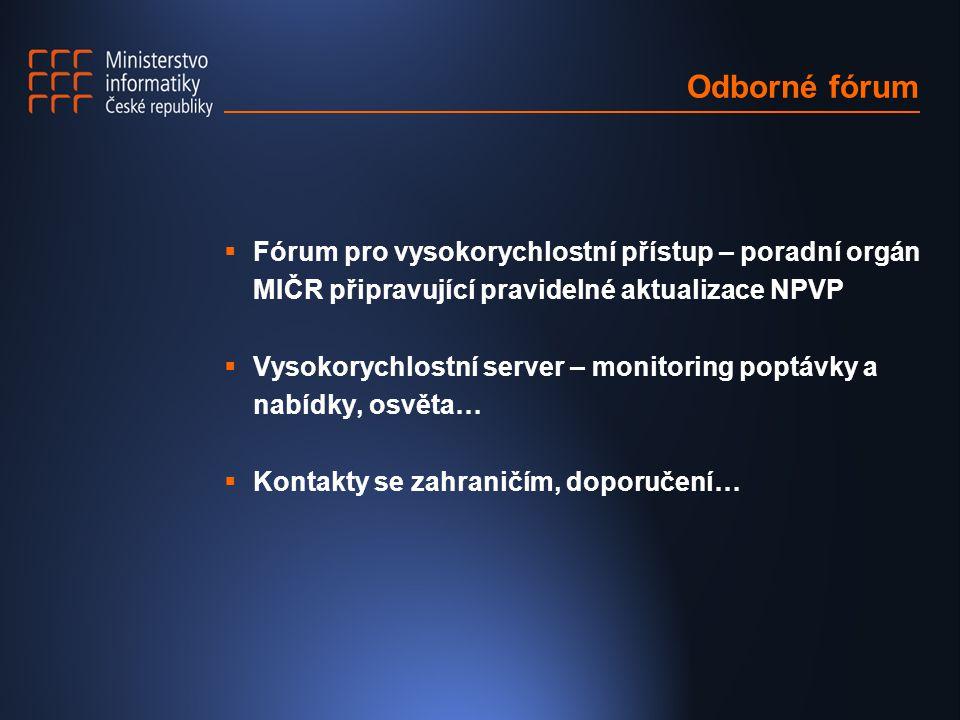 Odborné fórum  Fórum pro vysokorychlostní přístup – poradní orgán MIČR připravující pravidelné aktualizace NPVP  Vysokorychlostní server – monitoring poptávky a nabídky, osvěta…  Kontakty se zahraničím, doporučení…