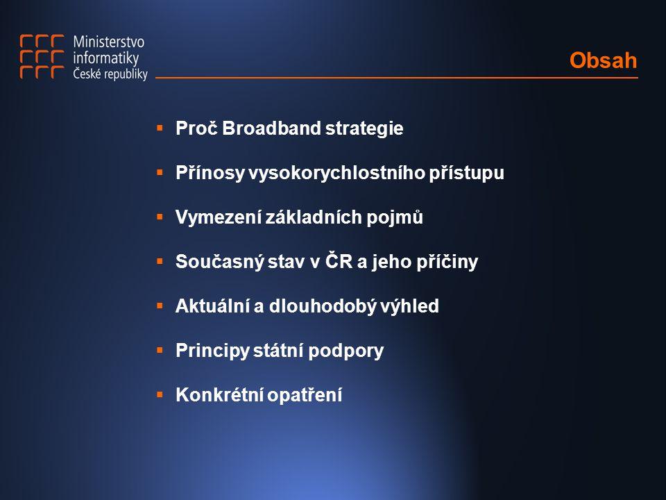 Obsah  Proč Broadband strategie  Přínosy vysokorychlostního přístupu  Vymezení základních pojmů  Současný stav v ČR a jeho příčiny  Aktuální a dl