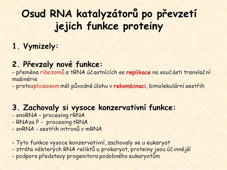 Osud RNA katalyzátorů po převzetí jejich funkce proteiny 1. Vymizely: 2. Převzaly nové funkce: - přeměna ribozomů a tRNA účastnících se replikace na s