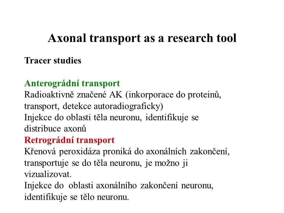 (axoplasmatic transport) Anterográdní Proteosyntéza v buněčném těle (ER, Golgiho komplex) Retrográdní Přenos chemických signálů z periferie Axonal transport