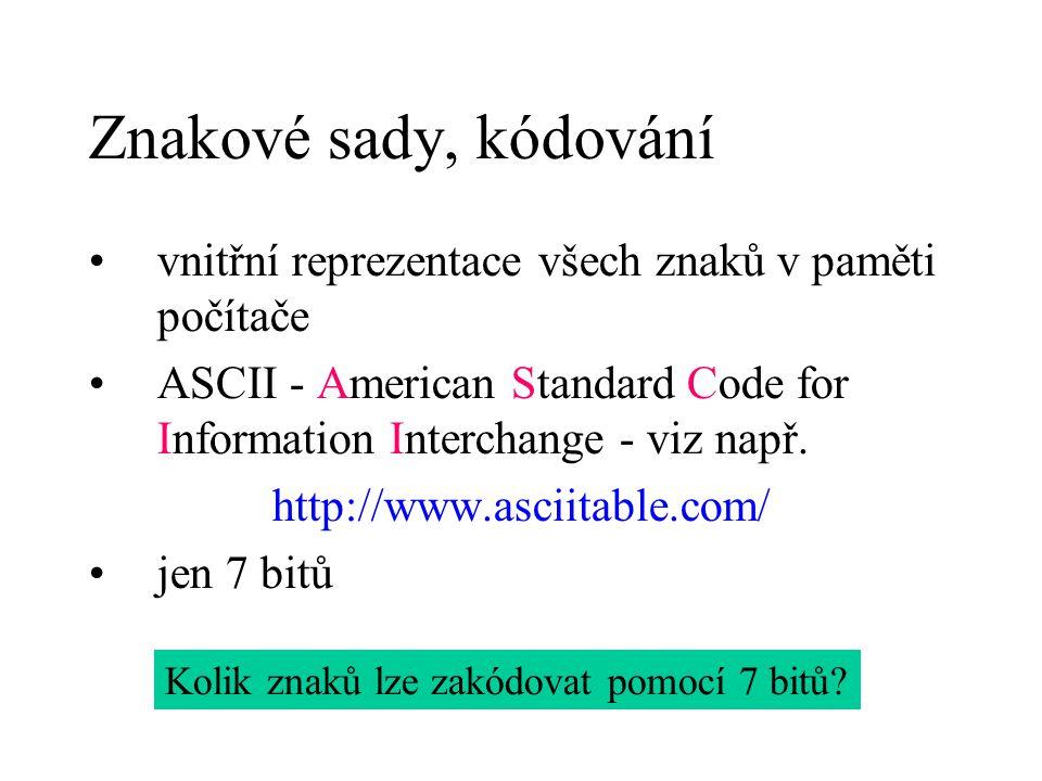 Znakové sady, kódování vnitřní reprezentace všech znaků v paměti počítače ASCII - American Standard Code for Information Interchange - viz např. http: