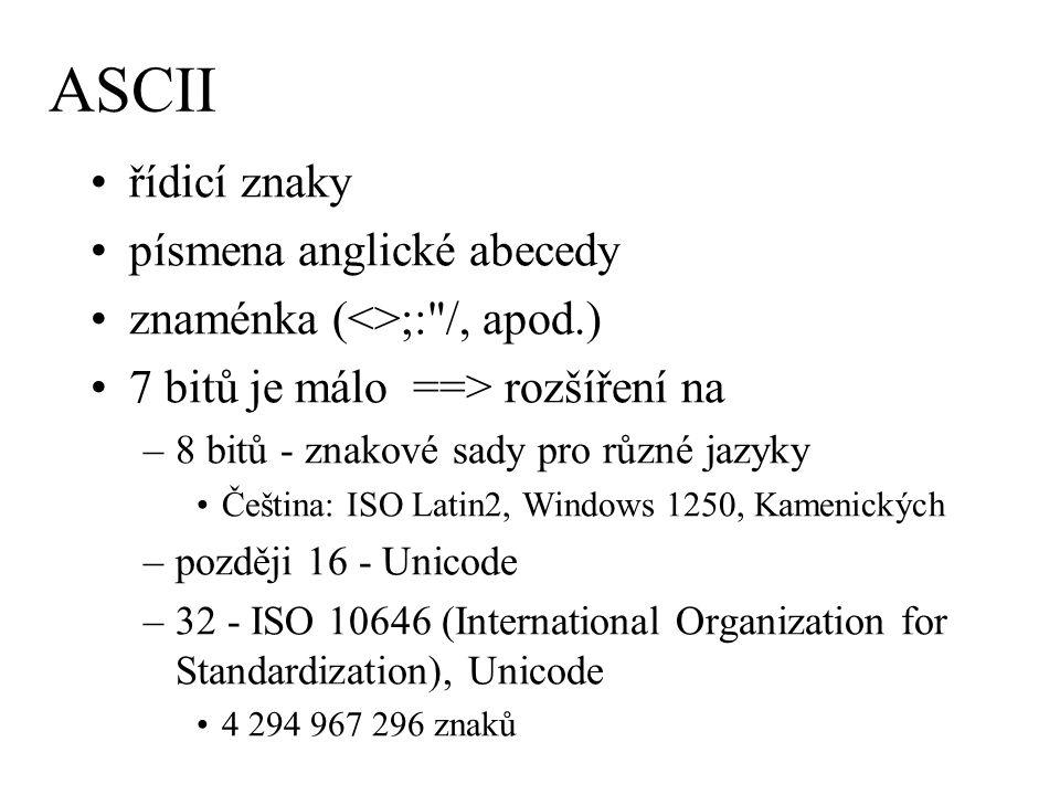 ASCII řídicí znaky písmena anglické abecedy znaménka (<>;: