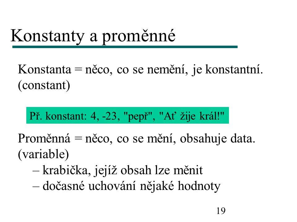 19 Konstanty a proměnné Konstanta = něco, co se nemění, je konstantní. (constant) Př. konstant: 4, -23,