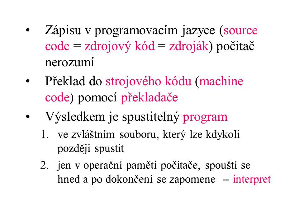 Zápisu v programovacím jazyce (source code = zdrojový kód = zdroják) počítač nerozumí Překlad do strojového kódu (machine code) pomocí překladače Výsl