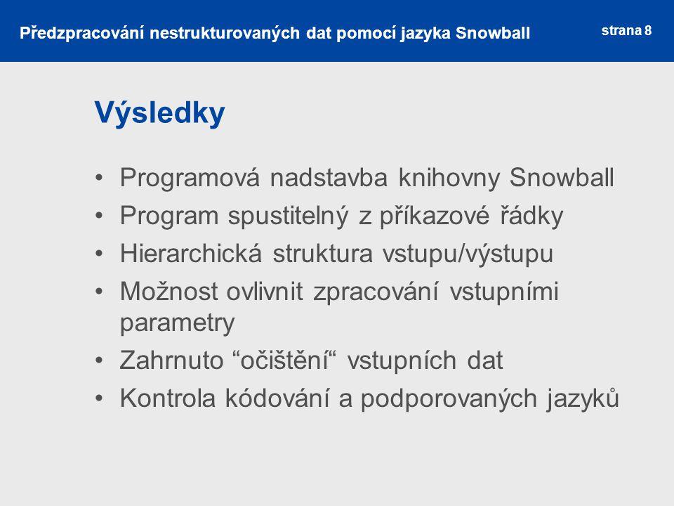 Výsledky Programová nadstavba knihovny Snowball Program spustitelný z příkazové řádky Hierarchická struktura vstupu/výstupu Možnost ovlivnit zpracován