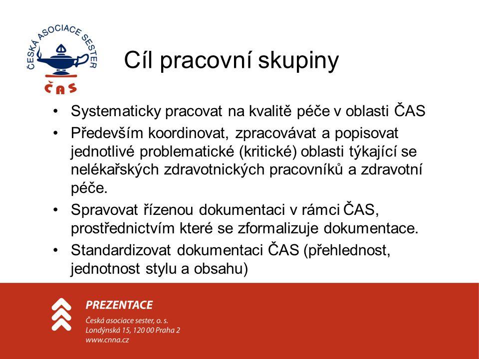 Cíl pracovní skupiny Systematicky pracovat na kvalitě péče v oblasti ČAS Především koordinovat, zpracovávat a popisovat jednotlivé problematické (krit