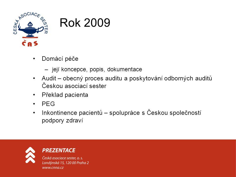 Rok 2009 Domácí péče –její koncepce, popis, dokumentace Audit – obecný proces auditu a poskytování odborných auditů Českou asociací sester Překlad pac