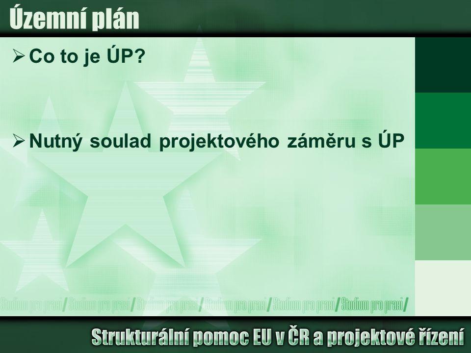 Územní plán  Co to je ÚP  Nutný soulad projektového záměru s ÚP