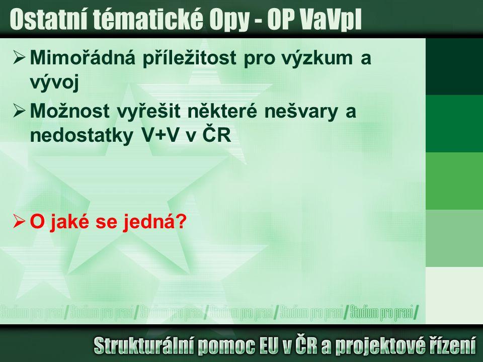 Ostatní tématické Opy - OP VaVpI  Mimořádná příležitost pro výzkum a vývoj  Možnost vyřešit některé nešvary a nedostatky V+V v ČR  O jaké se jedná?