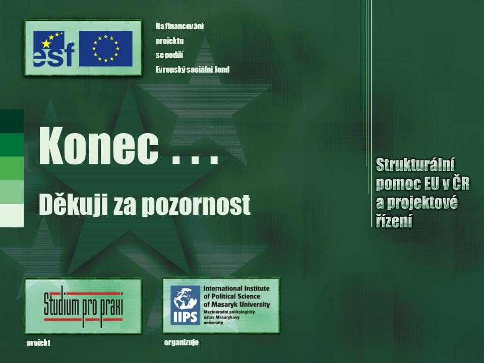 Konec Děkuji za pozornost... organizuje projekt Na financování projektu se podílí Evropský sociální fond
