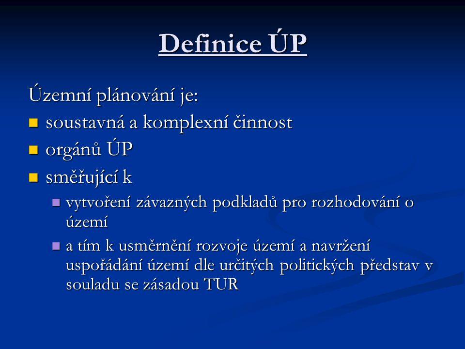 Definice ÚP Územní plánování je: soustavná a komplexní činnost soustavná a komplexní činnost orgánů ÚP orgánů ÚP směřující k směřující k vytvoření závazných podkladů pro rozhodování o území vytvoření závazných podkladů pro rozhodování o území a tím k usměrnění rozvoje území a navržení uspořádání území dle určitých politických představ v souladu se zásadou TUR a tím k usměrnění rozvoje území a navržení uspořádání území dle určitých politických představ v souladu se zásadou TUR