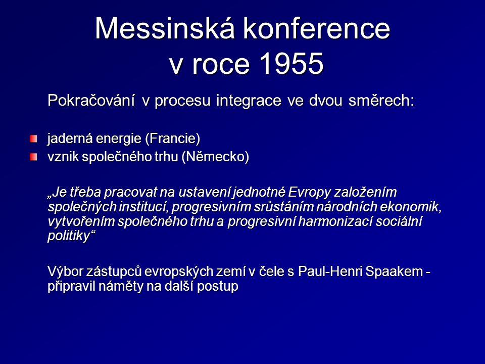 """Messinská konference v roce 1955 Pokračování v procesu integrace ve dvou směrech: jaderná energie (Francie) vznik společného trhu (Německo) """"Je třeba"""