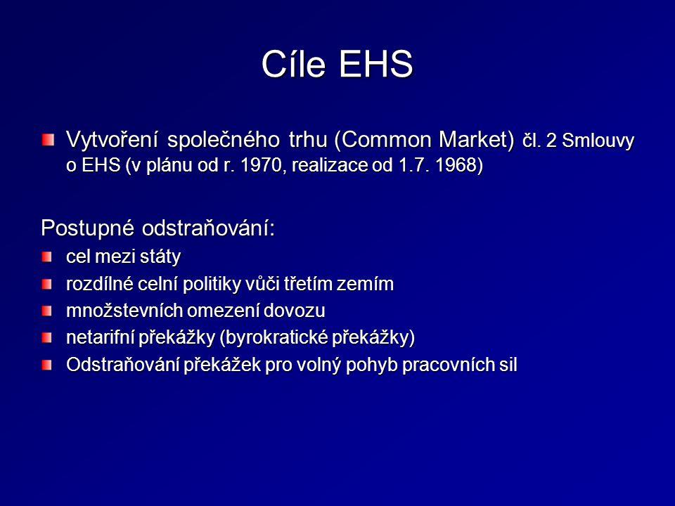 Cíle EHS Vytvoření společného trhu (Common Market) čl. 2 Smlouvy o EHS (v plánu od r. 1970, realizace od 1.7. 1968) Postupné odstraňování: cel mezi st