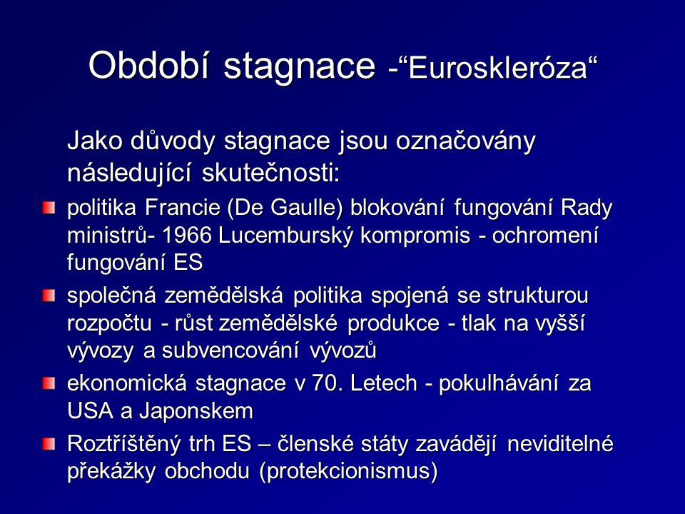 """Období stagnace -""""Euroskleróza"""" Jako důvody stagnace jsou označovány následující skutečnosti: politika Francie (De Gaulle) blokování fungování Rady mi"""