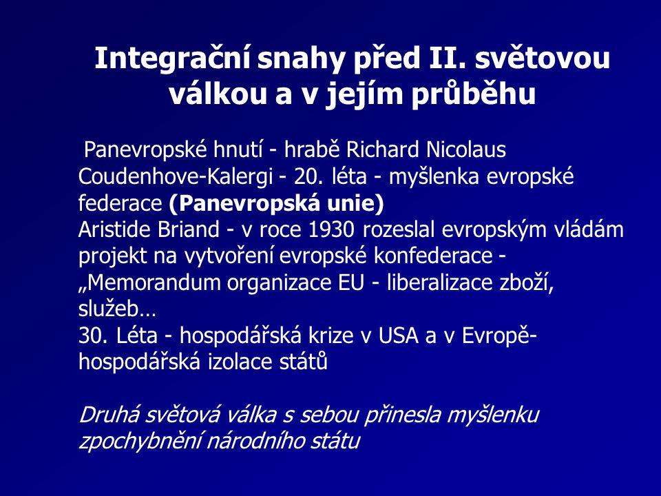 Integrační snahy před II. světovou válkou a v jejím průběhu Panevropské hnutí - hrabě Richard Nicolaus Coudenhove-Kalergi - 20. léta - myšlenka evrops