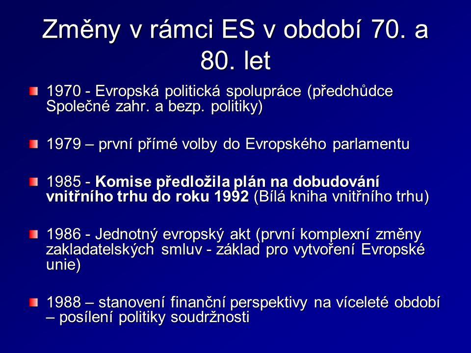 Změny v rámci ES v období 70. a 80. let 1970 - Evropská politická spolupráce (předchůdce Společné zahr. a bezp. politiky) 1979 – první přímé volby do