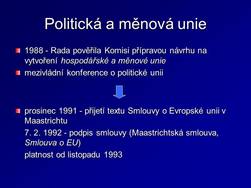 Politická a měnová unie 1988 - Rada pověřila Komisi přípravou návrhu na vytvoření hospodářské a měnové unie mezivládní konference o politické unii pro